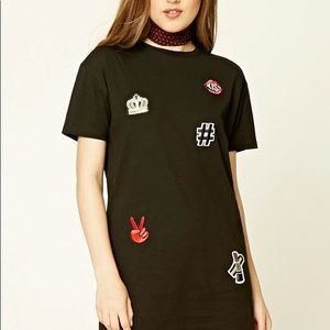 Forever 21 Black T-shirt Dress w/ Patches